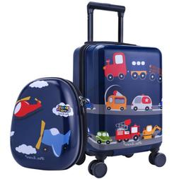 """16"""" Carry On Spinner Luggage Backpack Set Kids Suitcase Scho"""