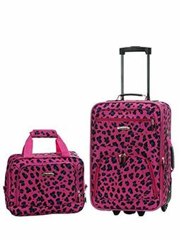 2-Piece Women Carry-On Luggage Set Magenta Leopard Print Rol