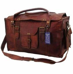 21 inch Mens Vintage Genuine Leather Flap Duffel Carry On We
