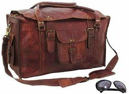 "28"" Brown Leather handmade travel luggage vintage weekend du"