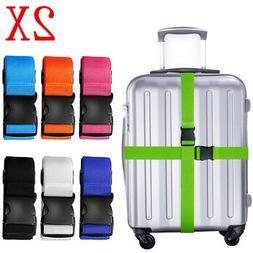 2x Adjustable Travel Luggage Safe Belt Packing Suitcase Bagg