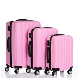 3 Pcs ABS Hard Suitcase Coded Lock Spinner Trolley Wheels Lu
