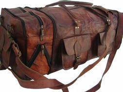 "31"" Leather Travel Bag Duffel Weekender Large Gym Overnight"
