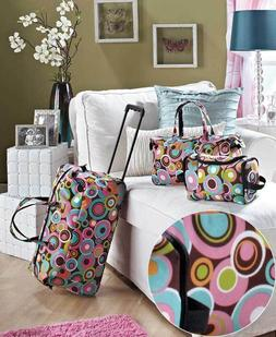 3PC LUGGAGE ROLLING DUFFEL TOTE BAG TRAVEL CIRCLE COSMETIC C