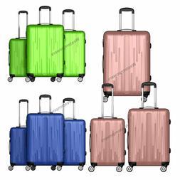 3PCS Luggage Set 20'' 24'' 28'' ABS Carry On Travel Bag Trol