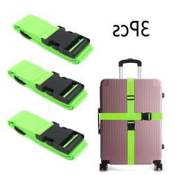 3X Green Travel Luggage Packing Belt Suitcase Strap Baggage