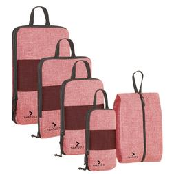5 Set Compression Packing Cubes Expandable Travel Luggage-Or