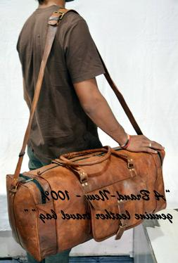 Men Genuine Leather Outdoor Gym Duffel Bag Travel Weekender