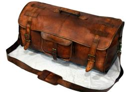 Brown Leather handmade travel luggage vintage overnight week