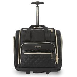 Carryon Rolling Luggage For Women Underseat Tote Black Fabri