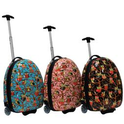 Cute Kid's Owl Printed Hard Shell Luggage Rolling Carry-on -