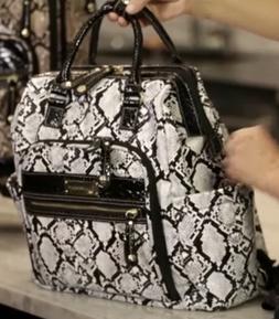Samantha Brown  Embossed Backpack BLACK/WHITE  Phyton  NWT