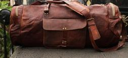 Heavy Duty Leather Travel Bag Duffle Women's Men's Luggage O