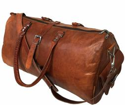 JSV Leather Travel Duffle Overnight Weekend Luggage Carry on