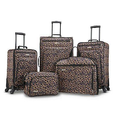 5 piece spinner luggage set cheetah leopard