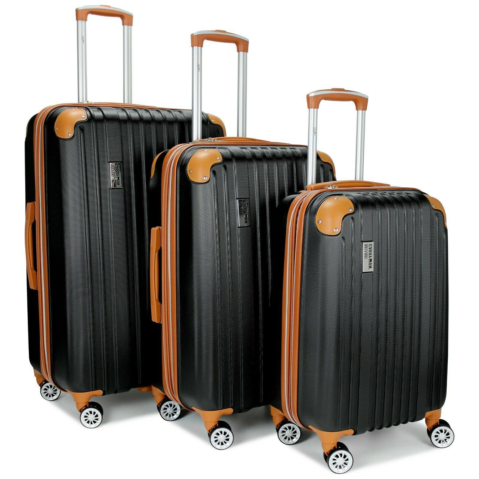 collins expandable spinner luggage set black pink