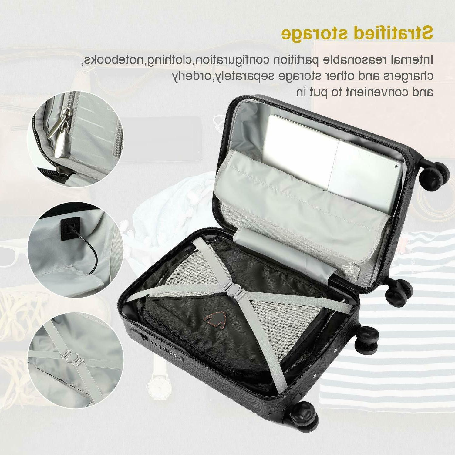 REYLEO Hardside Spinner 20 Carry Luggage Travel