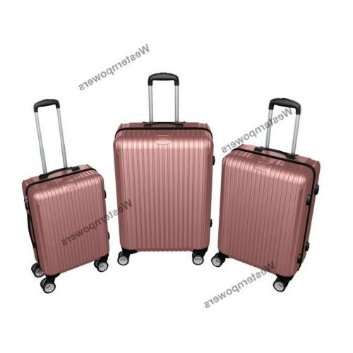 Hardside Spinner 3 piece Lightweight 20'' 24'' Trolley Suitcase