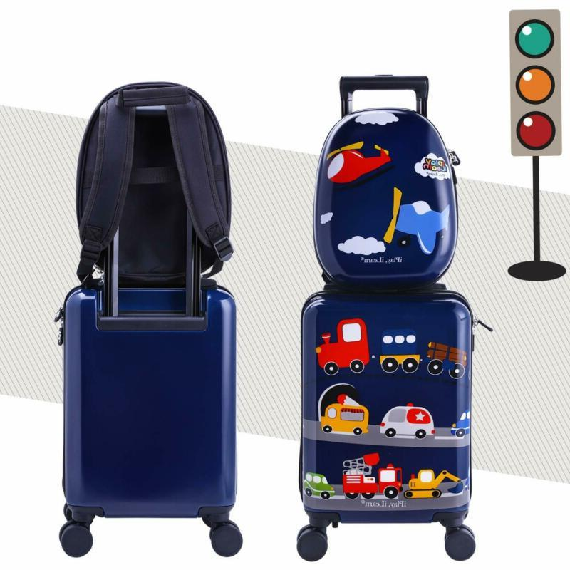 Kids Carry Luggage Set with Wheels, Suitcase for Boys Toddlers
