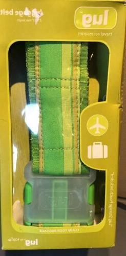 LUG Luggage BAG Tag Lime/brillant green designer Belt W/Stor