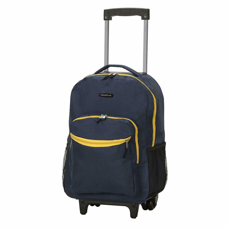 "Luggage Rolling Backpack Double Wheels Shoulder Pocket Organizer 17"""
