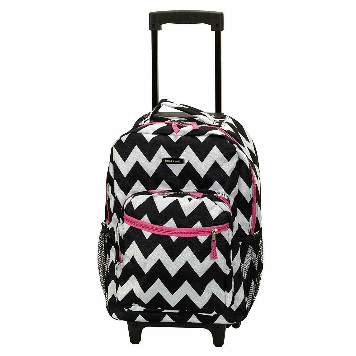 """Luggage Rolling Backpack With Double Wheels Shoulder Pocket Organizer 17"""""""