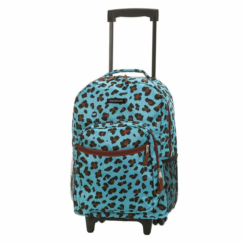 "Luggage Backpack Double Wheels Shoulder Pocket Organizer 17"""