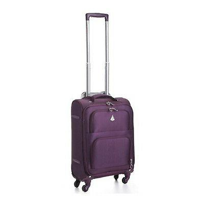 maximum allowance airline approved carryon suitcase plum