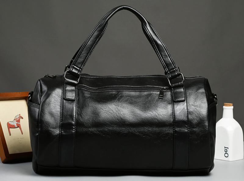 Men's Roll Travel Gym Leather Luggage Tote Bag