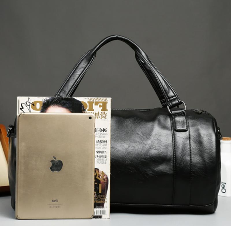 Men's Large Roll Travel Duffle Gym Leather Luggage Tote Shoulder Bag