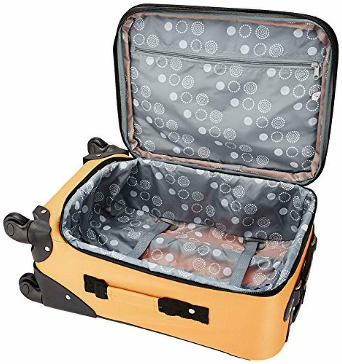 Rockland Luggage Inch Expandable Carry Orange, One