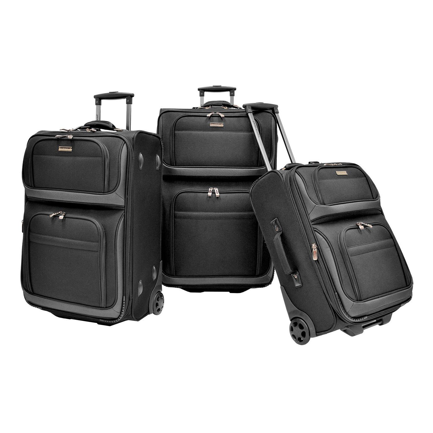 """Traveler's Conventional 22"""" Rugged Rolling Luggage"""