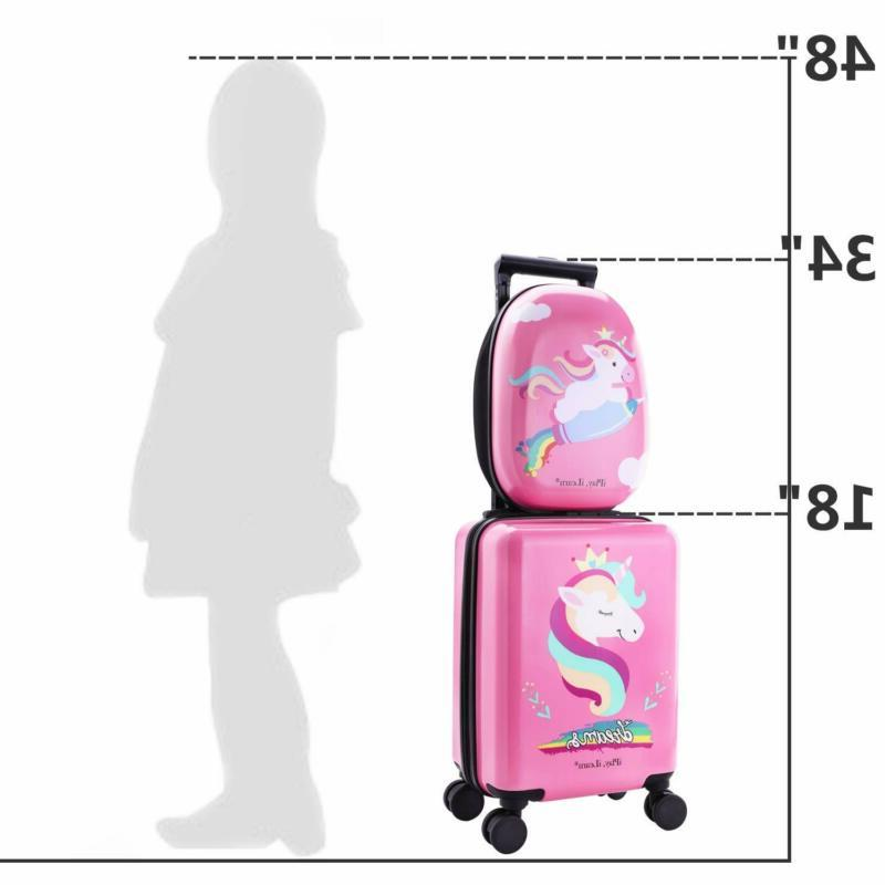Unicorn Kids Carry Luggage with Spinner Wheels, Girls Suitcase
