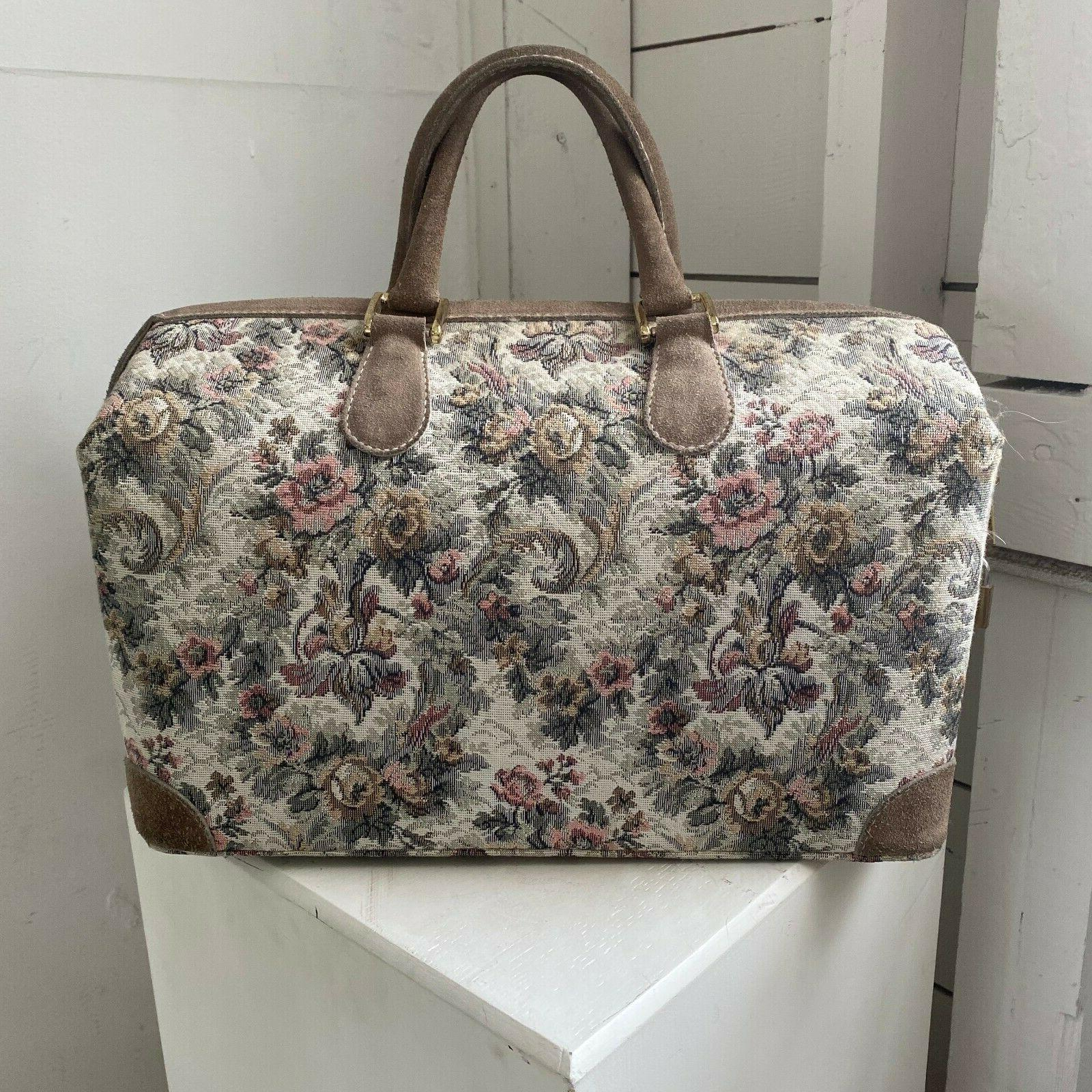 """Vtg FRENCH """"Gray Rose"""" Suede Cosmetic Overnighter Speedy"""