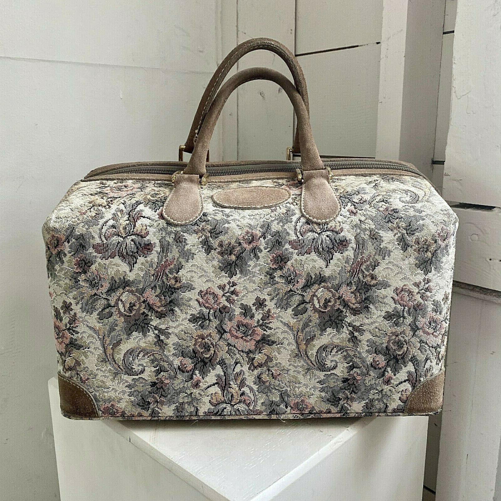 vtg co gray rose suede tapestry cosmetic