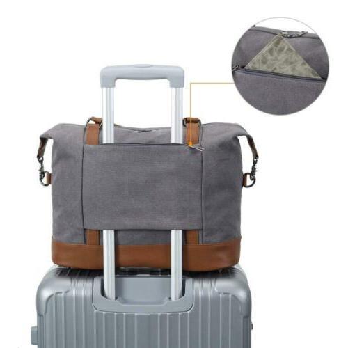 Women Canvas Weekender Bag Carry-on Tote Duffel in Grey