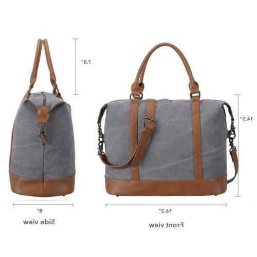 Women Canvas Weekender Bag Overnight Duffel Grey