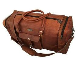 Large Brown Leather Goat hide Carry-On Duffel Weekend Luggag