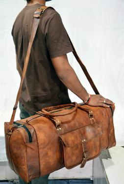 Leather luggage Handmade overnight bag vintage Large  Real G