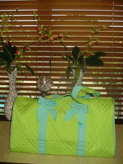 ROSENBLUE LIME GREEN QUILTED DUFFLE TRAVEL LUGGAGE**GYM WEEK