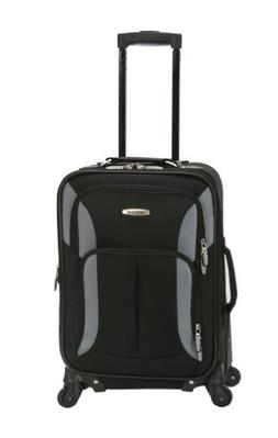 Rockland Luggage 19 Inch Expandable Spinner Carry On, Black/