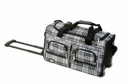 Rockland Luggage 22 Inch Rolling Duffle Bag, Black Cross Pla