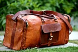 Men  Genuine Leather Large travel duffle weekend bag Handmad