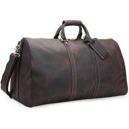 men genuine leather overnight luggage duffle gym