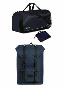 navy collapsible compact folding travel duffel bag