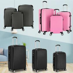 New 3Pcs ABS Travel Luggage Sets Spinner Suitcases W/ TSA Lo