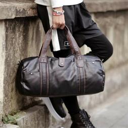 Outdoor Sports Gym Leather Duffel Bag Weekender Overnight Lu