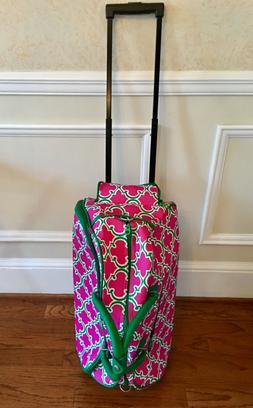 Pink and Green Print Roller Luggage 22 in