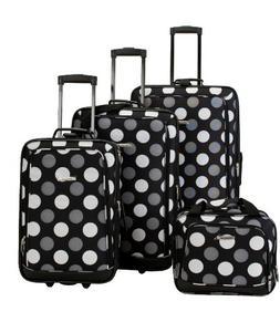 Rockland Pink Polka Dot 4-piece Expandable Luggage Set