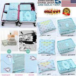 Set 6pcs Fabric Clothes Travel Storage Bags Packing Cube Lug